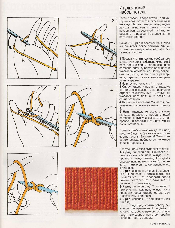 Схемы набора итальянской резинки